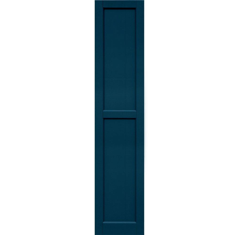 Winworks Wood Composite 15 in. x 72 in. Contemporary Flat Panel Shutters Pair #637 Deep Sea Blue