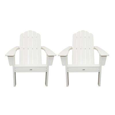Marina White Poly Plastic Outdoor Patio Adirondack Chair (2-Pack)