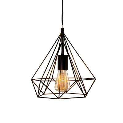 Fangio Lighting's 11 in. 1-Light Black Diamond Cage Metal Pendant