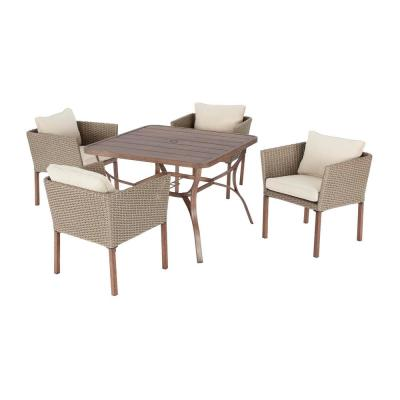 Oakshire 5-Piece Wicker Outdoor Patio Dining Set with Tan Cushions