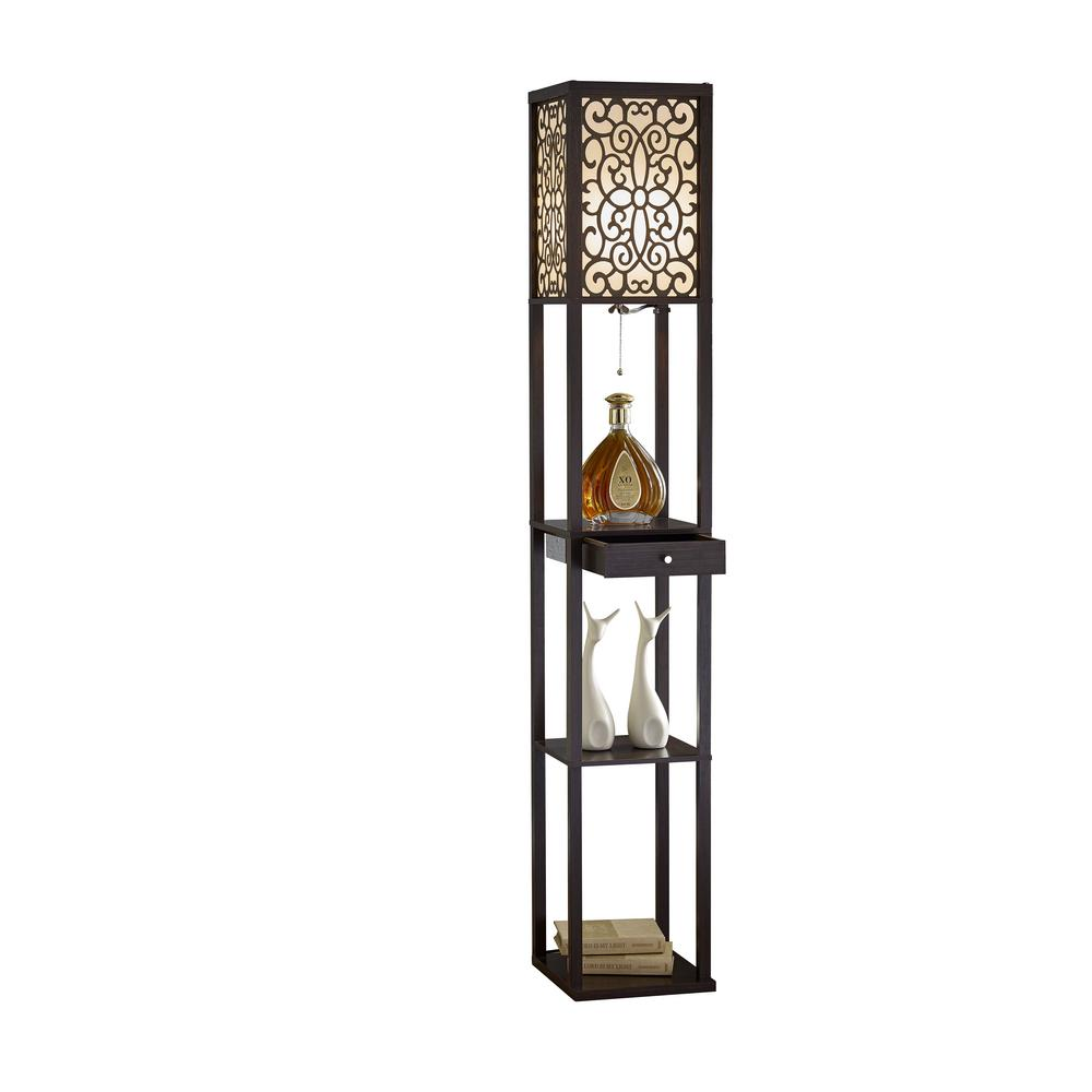 Expresso Etagere Shelf Floor Lamp