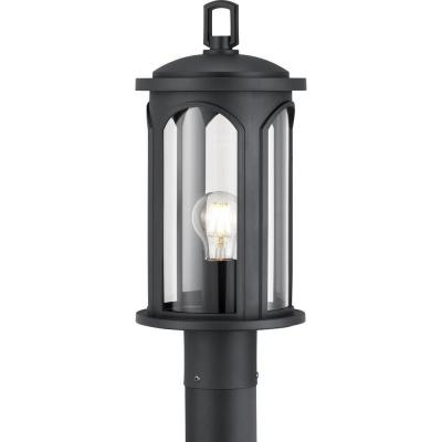 Faywood 1-Light Matte Black Outdoor Post Lantern with Clear Glass