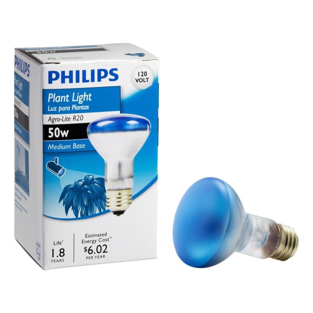 Philips 50-Watt R20 Incandescent Agro-Lite Indoor Flood Grow Light ...