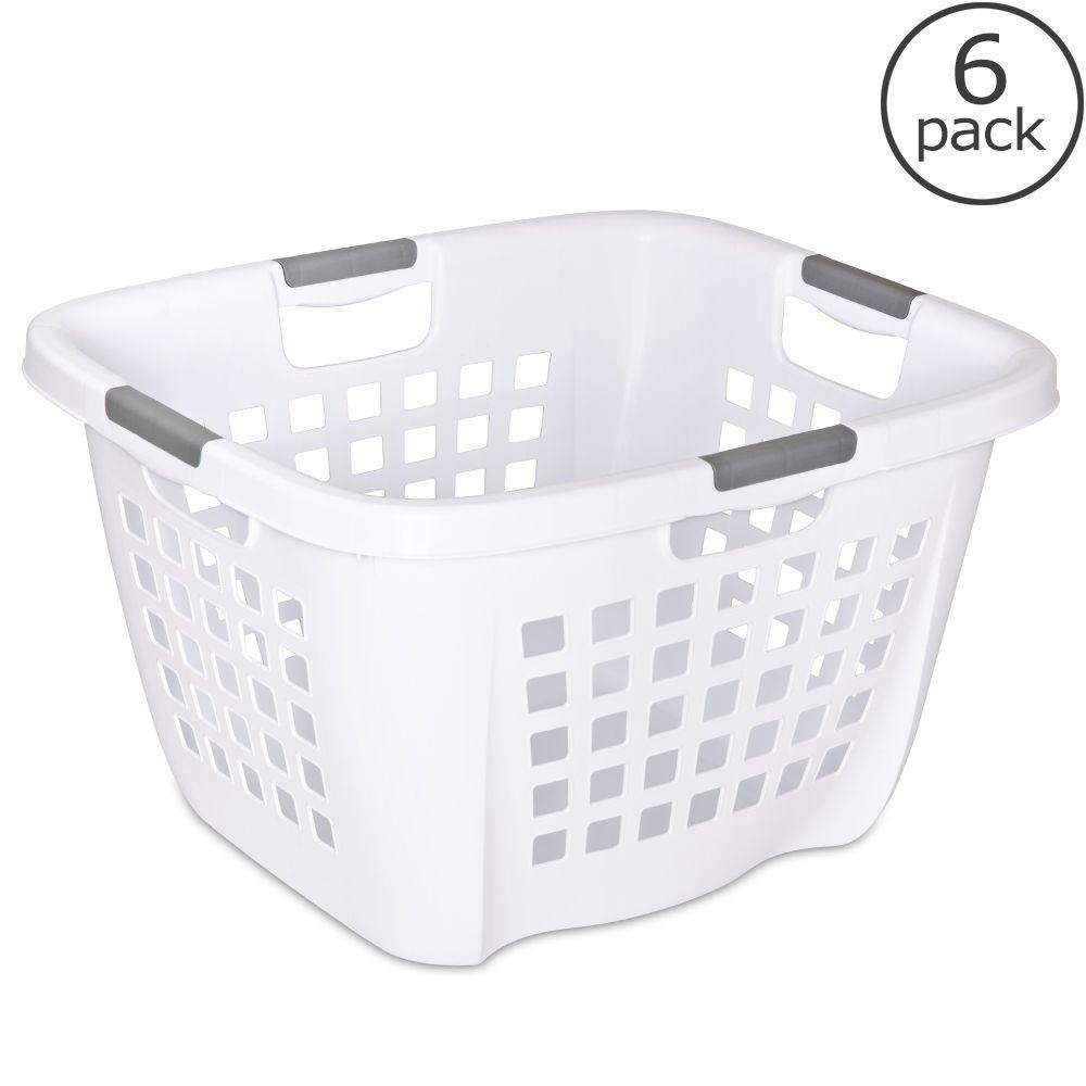 Sterilite 2.1 Bushel White Laundry Hamper (6-Pack)