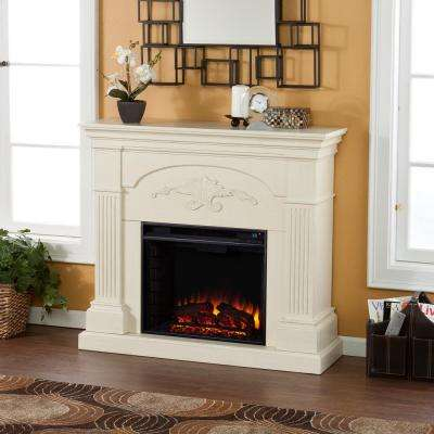 Dover 44.75 in. W Electric Fireplace in Ivory