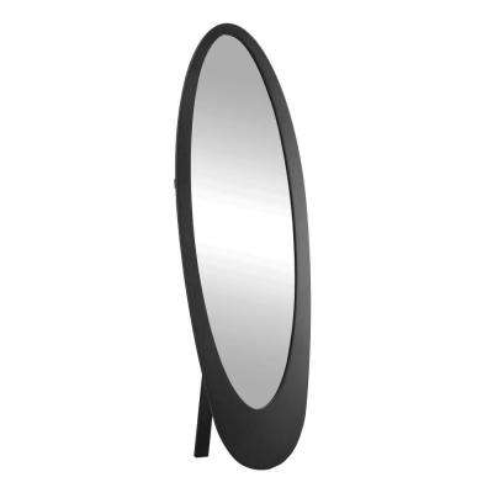 59 in. x 19 in. Contemporary Oval Framed Mirror in Black