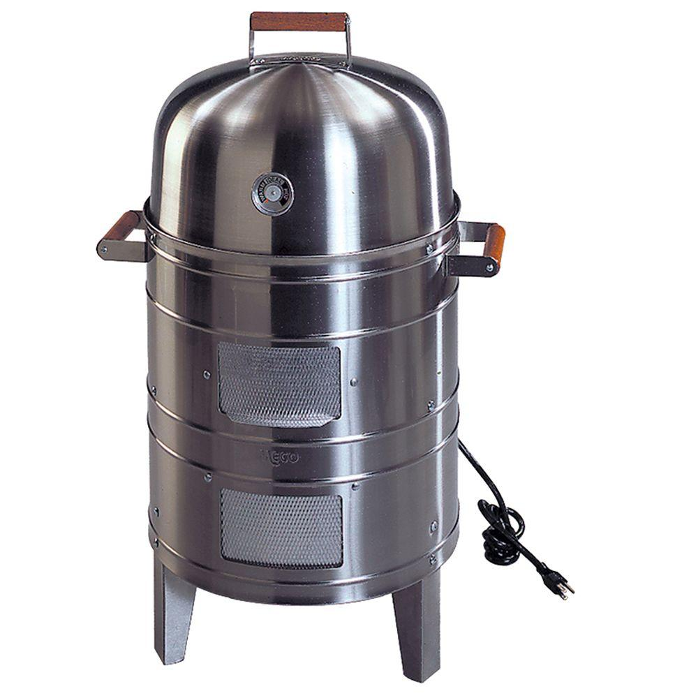 Double Grid Electric Water Smoker in Stainless Steel