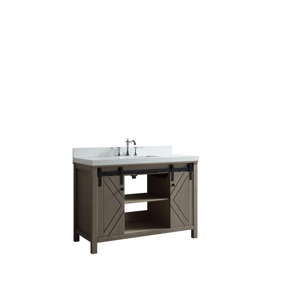 Lexora Marsyas 48 in. Single Bath Vanity in Ash Grey with White Quartz Vanity Top with White Square Sink and no Mirror