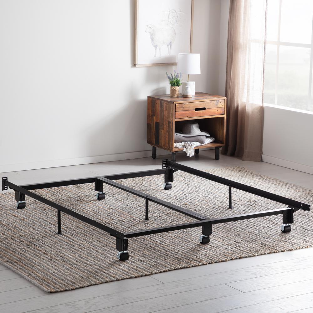 Steel Wedge Lock Metal King Bed Frame with Rug Rollers
