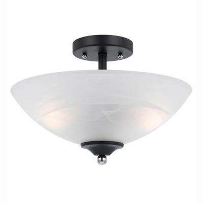 Athens 2-Light Black Semi-Flush Mount with Chrome Accents