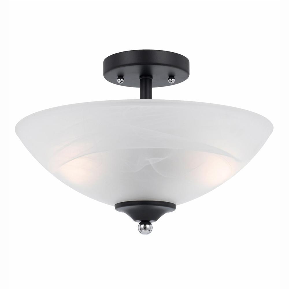 lumenno athens 2 light black semi flushmount with chrome accents 8004 01 14 the home depot. Black Bedroom Furniture Sets. Home Design Ideas