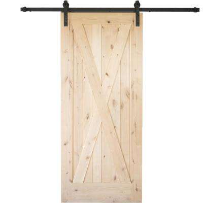 36 in. x 84 in. Krosswood Knotty Alder 1 Panel Single X Solid Wood Core Interior Barn Door Slab