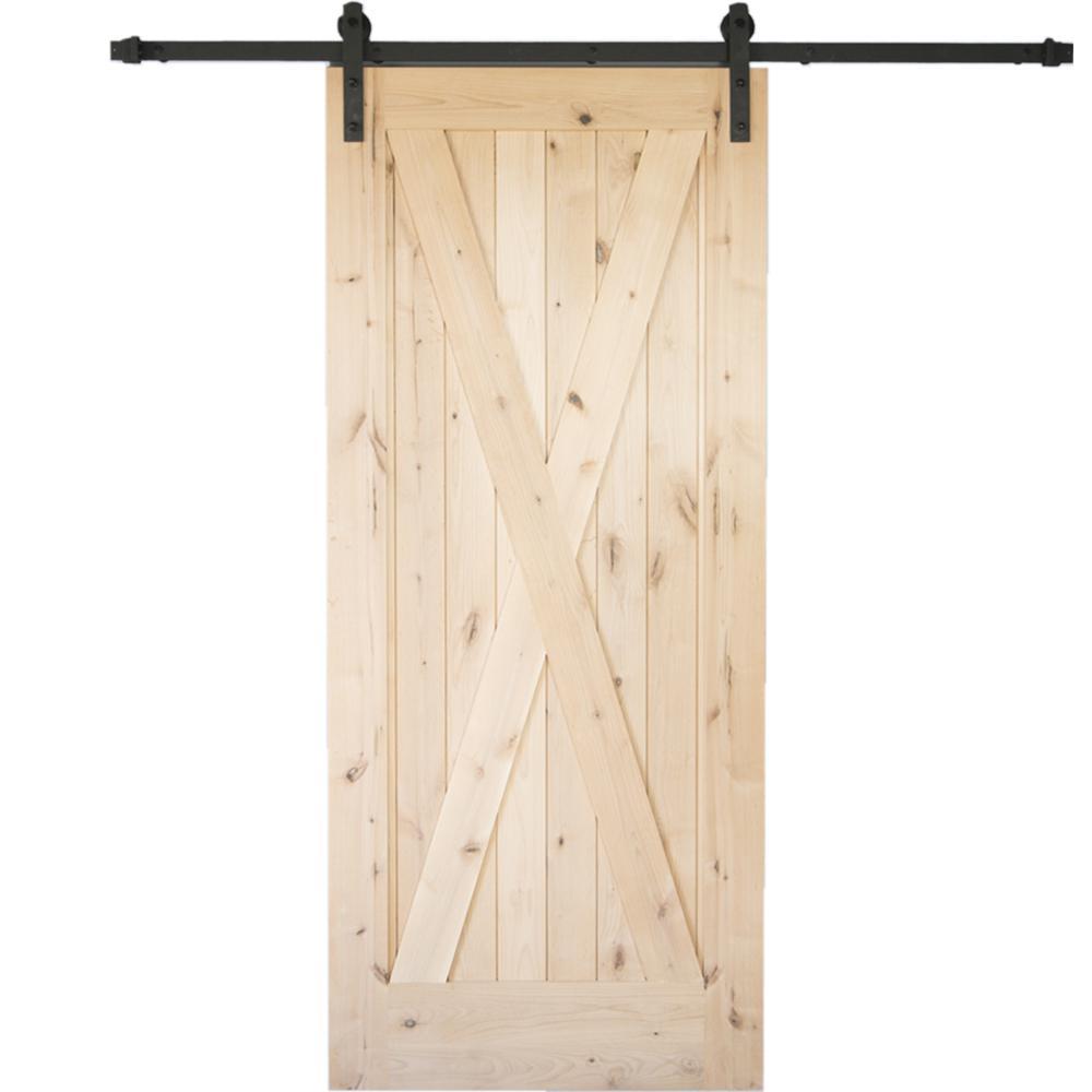 36 in. x 84 in. Krosswood Knotty Alder 1 Panel Single X Solid Wood Core Interior Barn Door Slab