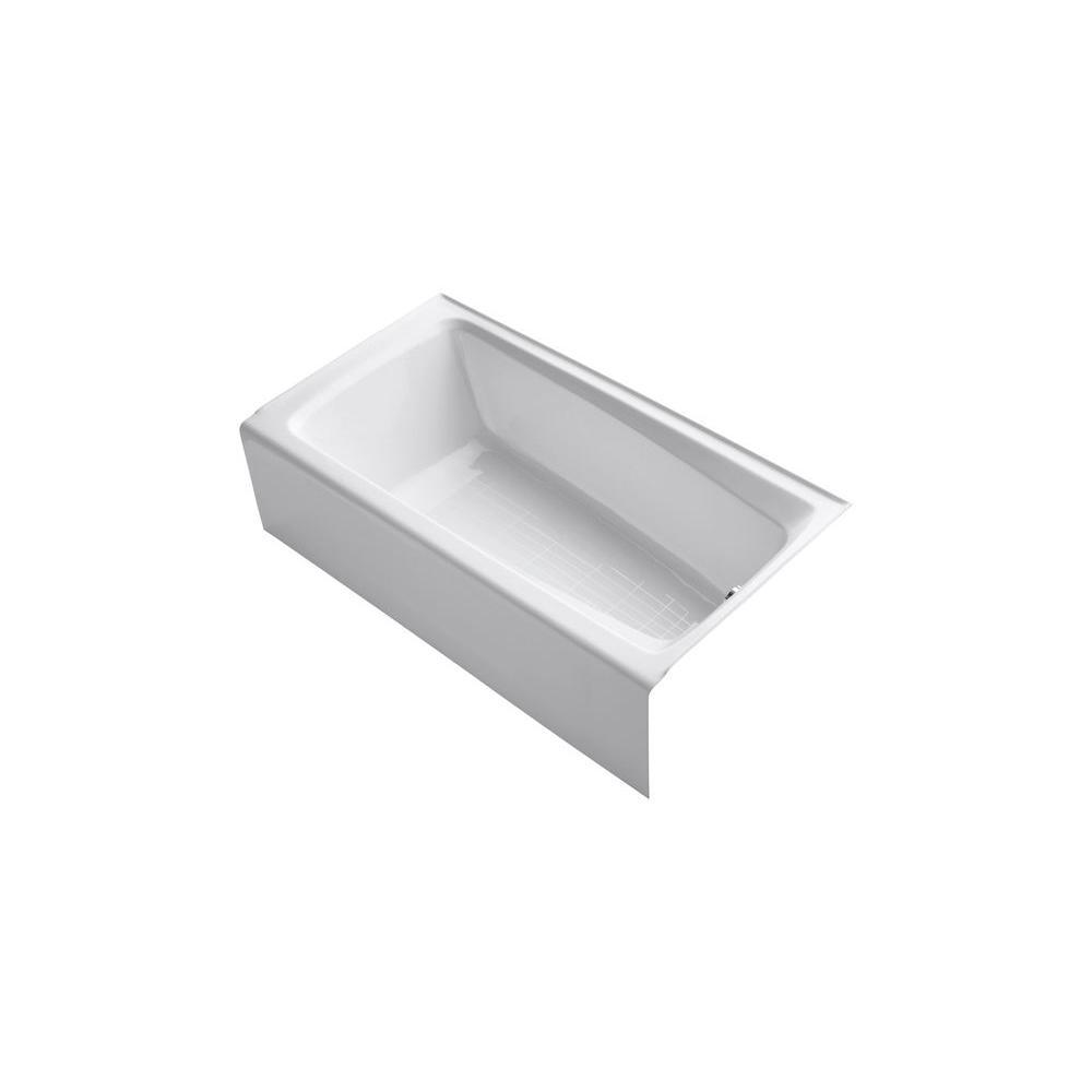 Mendota 60 in. x 32 in. ADA Cast Iron Acrylic Bathtub with Integral Farmhouse Apron and Right-Hand Drain in White