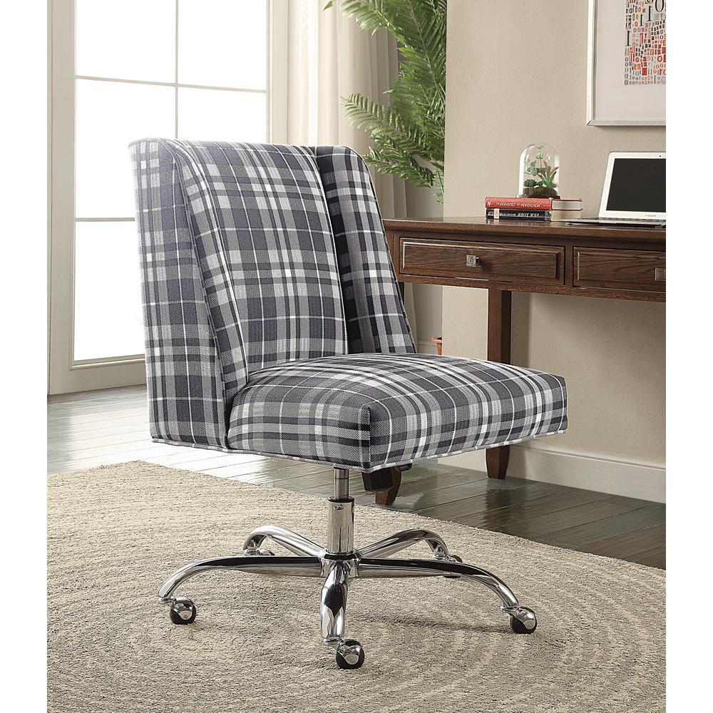 linon home decor draper gray plaid office chair