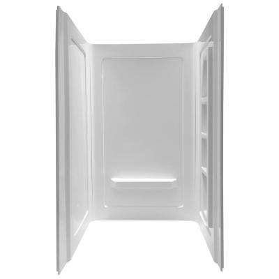 Forum 48 in. x 36 in. x 74 in. 3-piece Direct-to-Stud Alcove Shower Surround in White