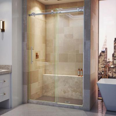 Enigma Air 44 in. to 48 in. x 76 in. Frameless Sliding Shower Door in Brushed Stainless Steel