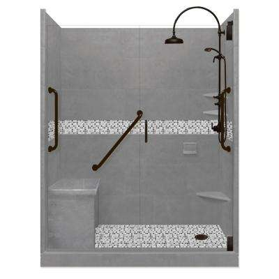 Del Mar Freedom Luxe Hinged 42 in. x 60 in. x 80 in. Right Drain Alcove Shower Kit in Wet Cement and BK Pipe Hardware