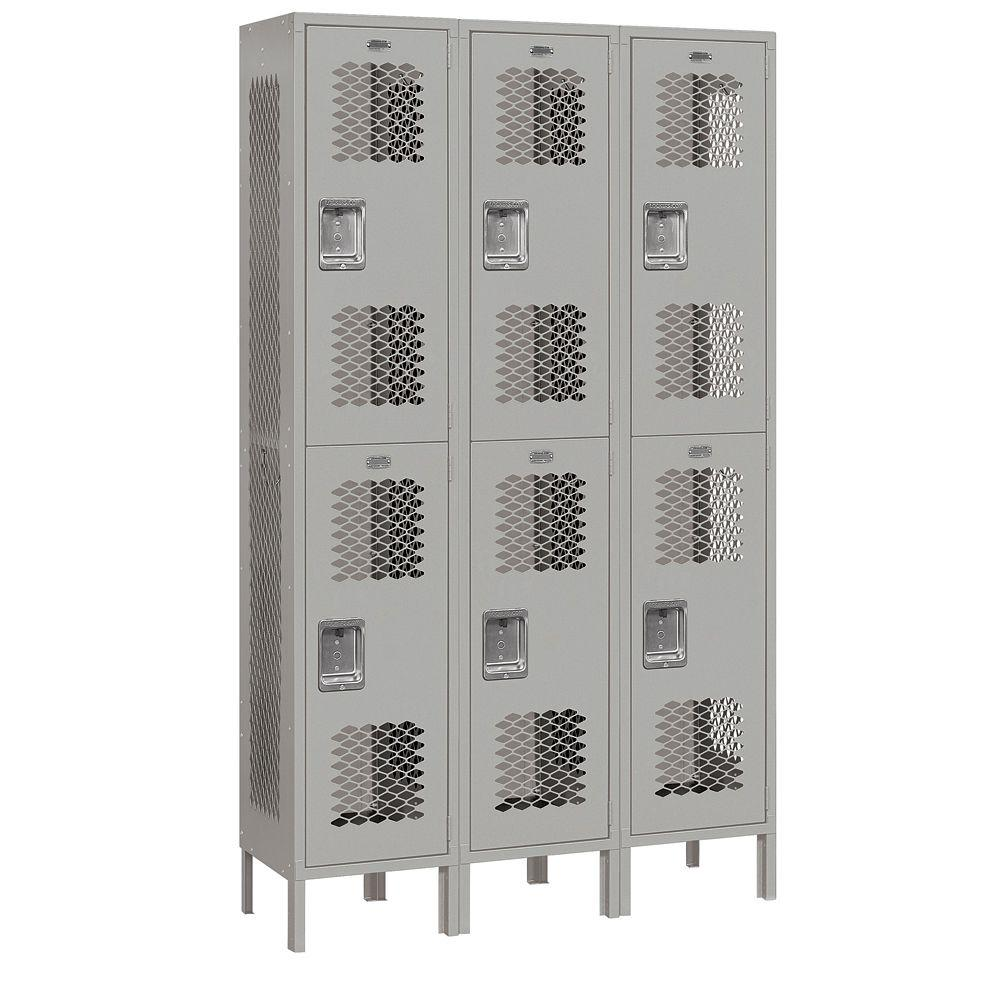 Salsbury Industries 82000 Series 45 in. W x 78 in. H x 15 in. D 2-Tier Extra Wide Vented Metal Locker Assembled in Gray