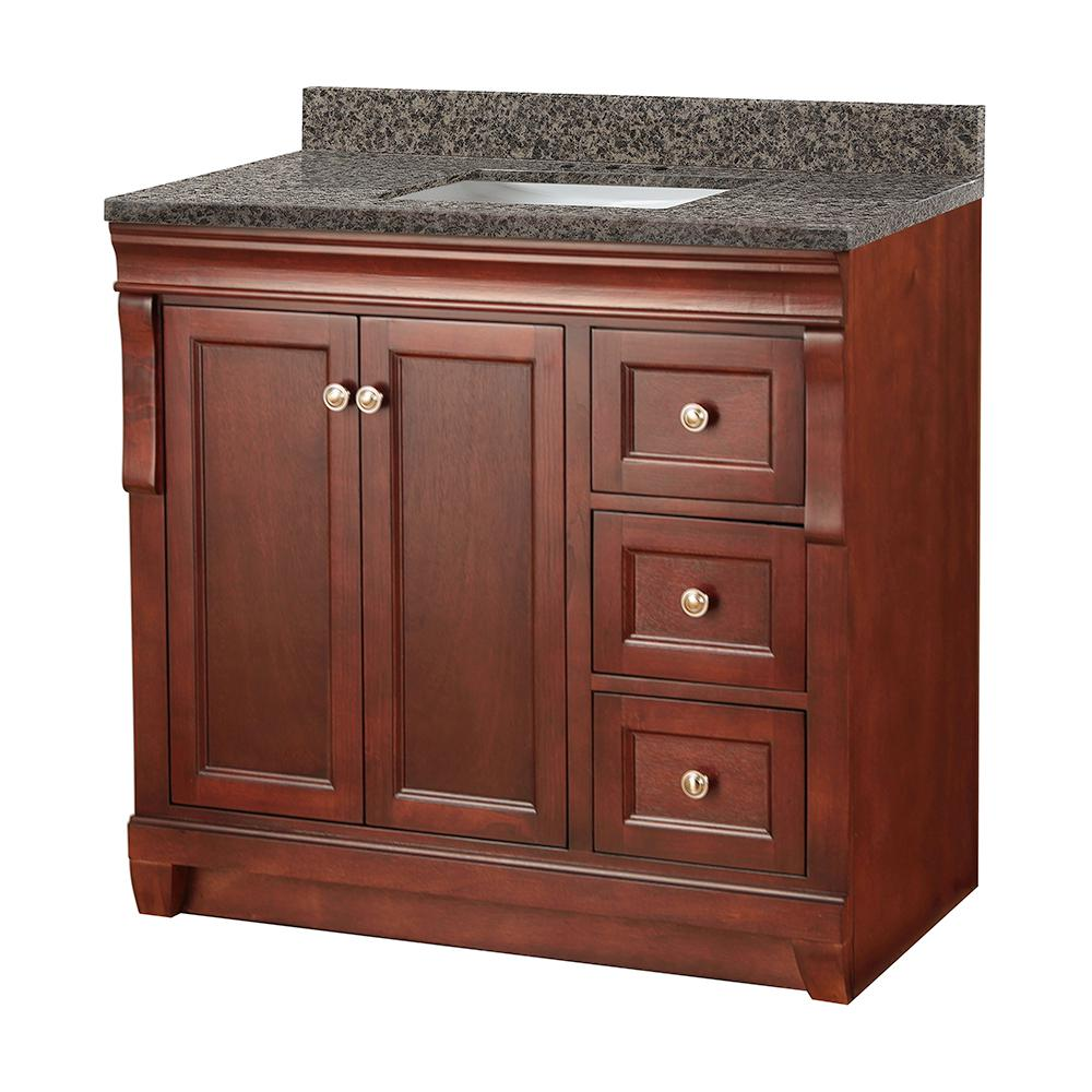 Home Decorators Collection Naples 37 in. W x 22 in. D Vanity in Tobacco with Granite Vanity Top in Sircolo with White Sink was $999.0 now $699.3 (30.0% off)