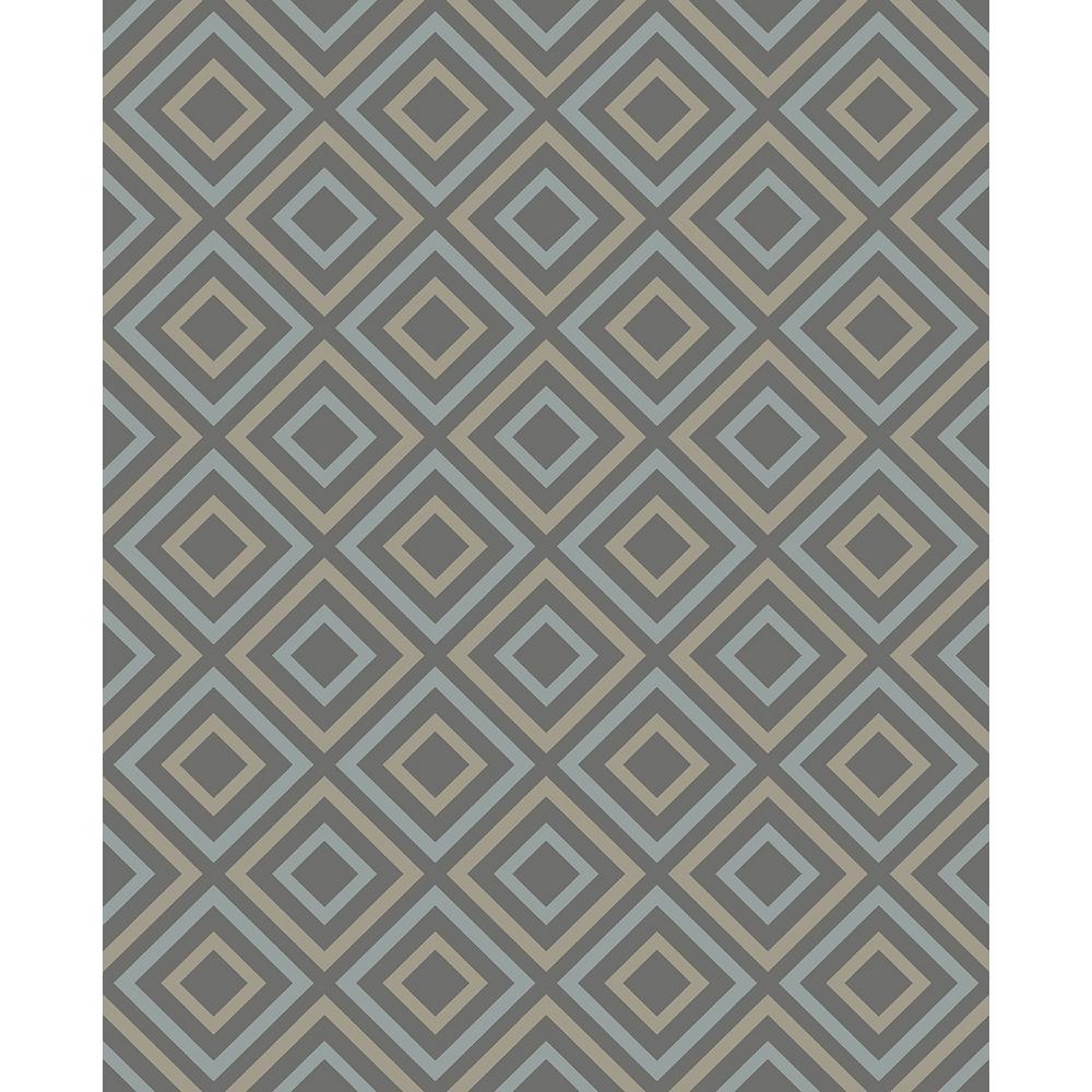 8 in. x 10 in. Horus Taupe Diamond Geo Wallpaper Sample