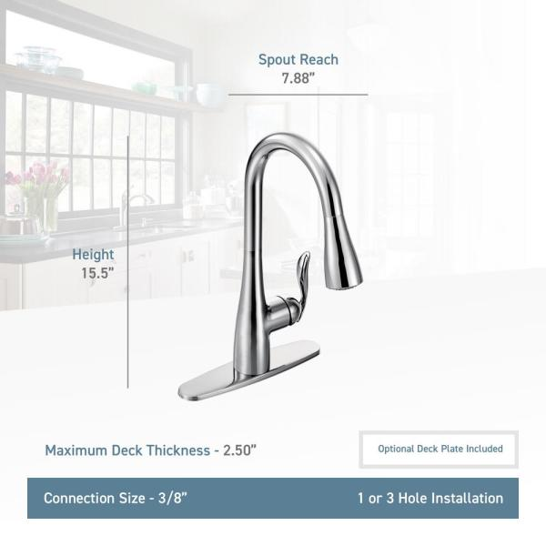 MOEN-Arbor Single-Handle Pull-Down Sprayer Kitchen Faucet with Power Boost in Spot Resist Stainless
