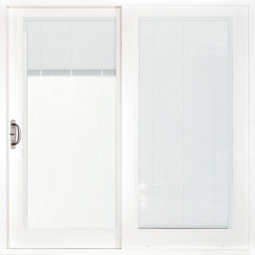 72 in. x 80 in. Woodgrain Interior Composite Prehung Left-Hand Sliding Patio Door with Low-E Blinds Between Glass