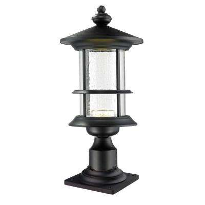 Burnim 1-Light Outdoor Black Integrated LED Pier Mount with Clear Seedy Glass