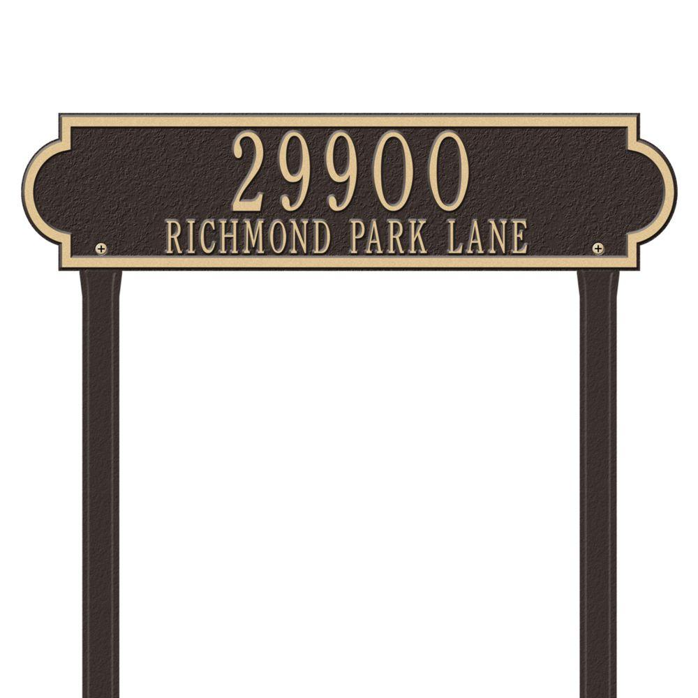 Richmond Rectangular Bronze/Gold Estate Lawn Two Line Horizontal Address Plaque