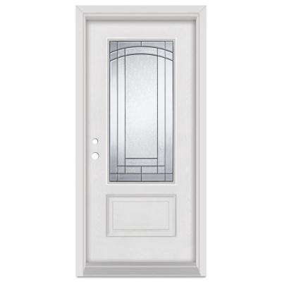 36 in. x 80 in. Chatham Right-Hand Patina Finished Fiberglass Mahogany Woodgrain Prehung Front Door Brickmould