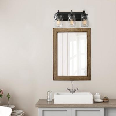 Mina 3-Light Oil-Rubbed Dark Bronze Modern Industrial Wall Sconce Vanity Light with Rustic Mason Jar Glass Shade