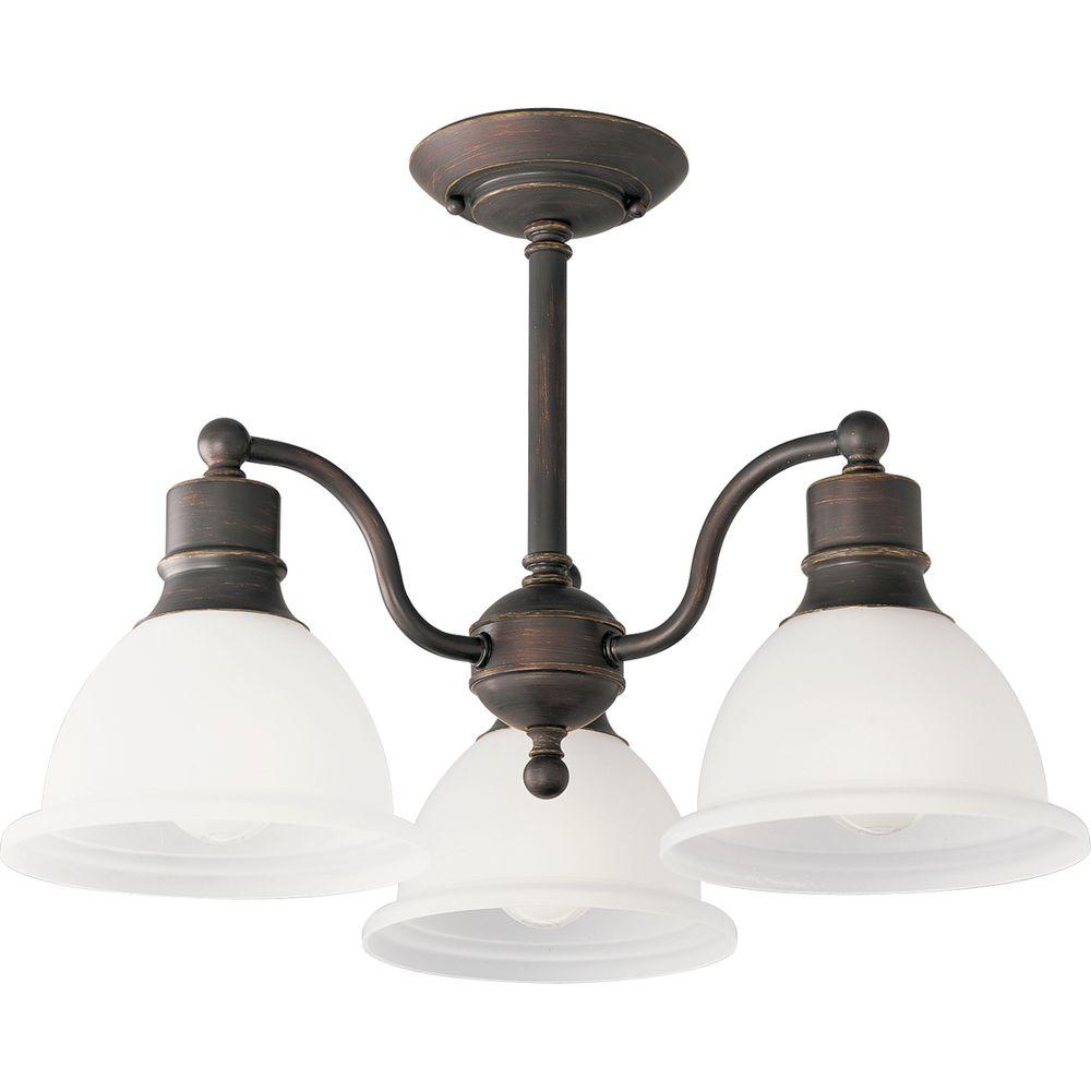 Progress Lighting Madison Collection 20 75 In 3 Light Antique Bronze Semi Flush Mount