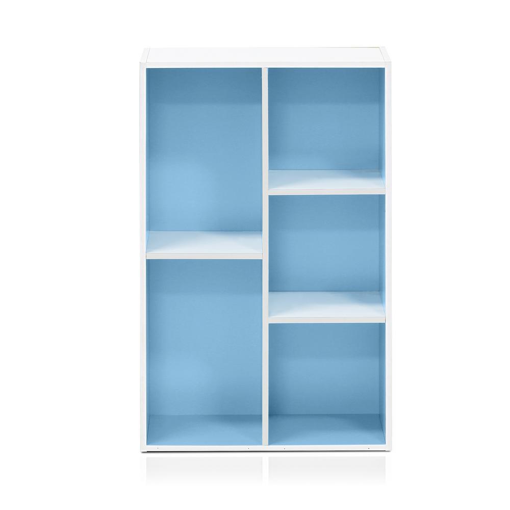 White/Light Blue 5-Cube Reversible Open Shelf