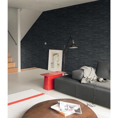 Black Shadow Faux Slate Vinyl Wallpaper