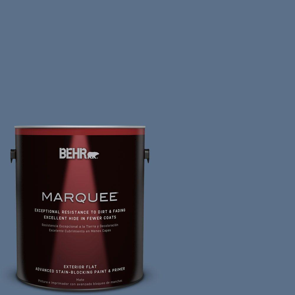 BEHR MARQUEE 1-gal. #S520-6 Layers of Ocean Flat Exterior Paint