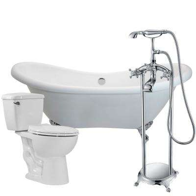 Aegis 68.75 in. Acrylic Clawfoot Non-Whirlpool Bathtub in White with Tugela Faucet and Cavalier 1.28 GPF Toilet