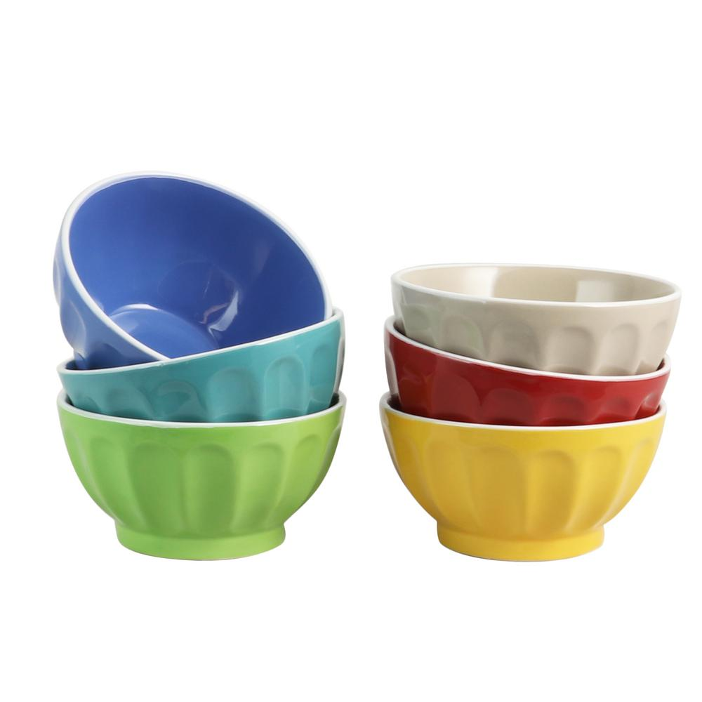 Color Fun 6 in. Assorted Colors Cereal Bowl (Set of 6)
