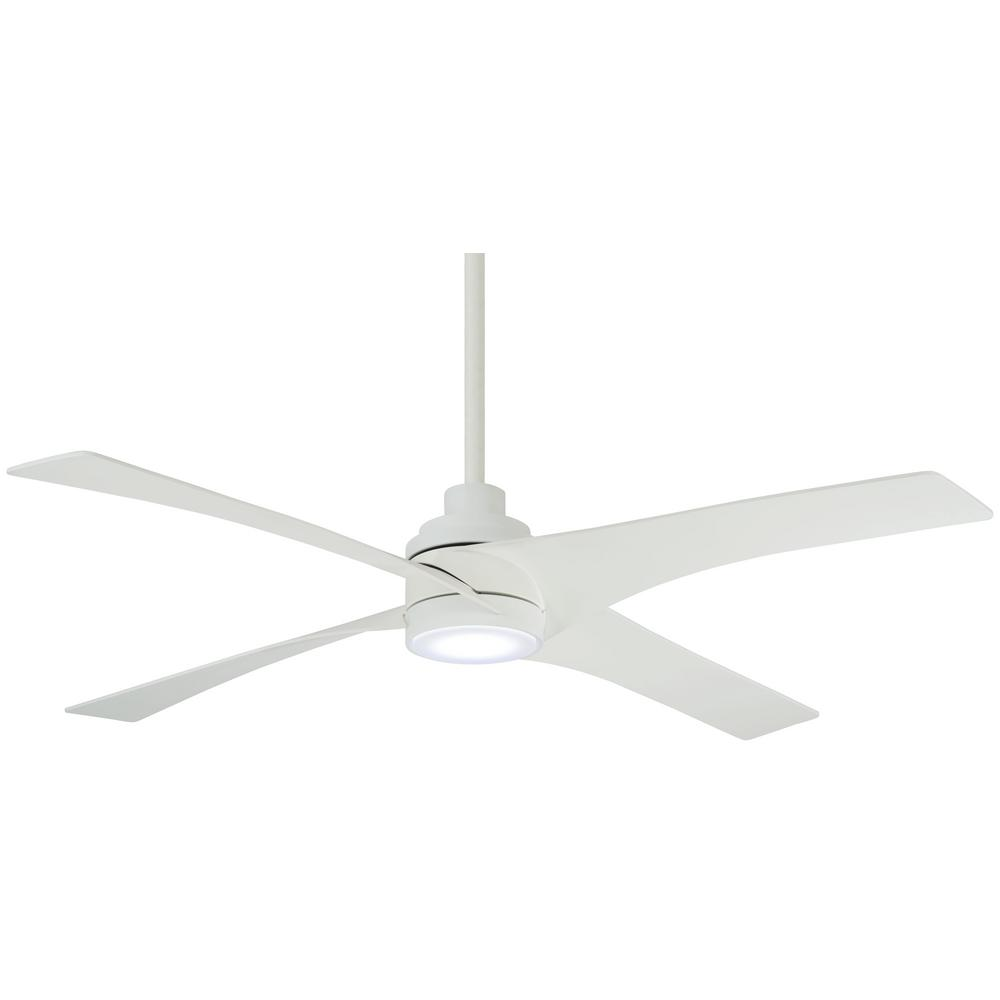 Minka-Aire Swept 56 in. Integrated LED Indoor Flat White Ceiling Fan with Light with Remote Control