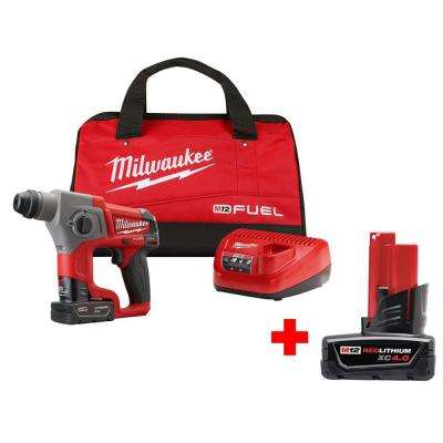 M12 FUEL 12-Volt Lithium-Ion Brushless Cordless 5/8 in. SDS-Plus Rotary Hammer Kit With Free 4.0Ah M12 Battery