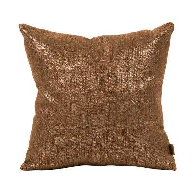 Glam Gold Chocolate 16 in. x 16 in. Decorative Pillow