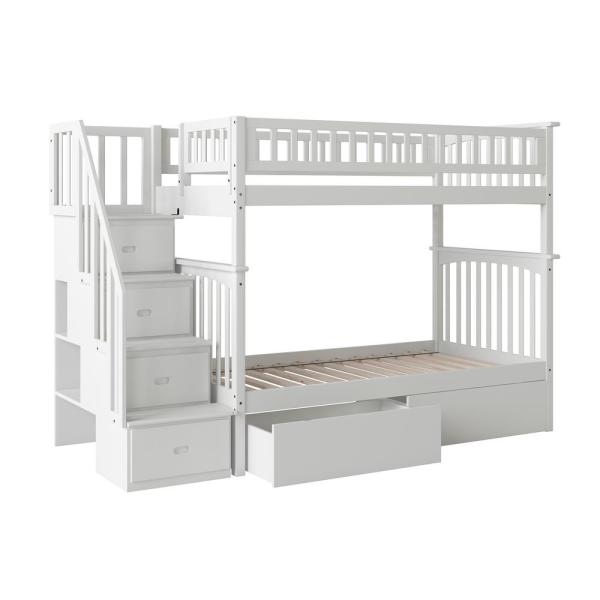 Atlantic Furniture Columbia Staircase White Twin Over Twin Bunk Bed with 2-Urban Bed Drawers