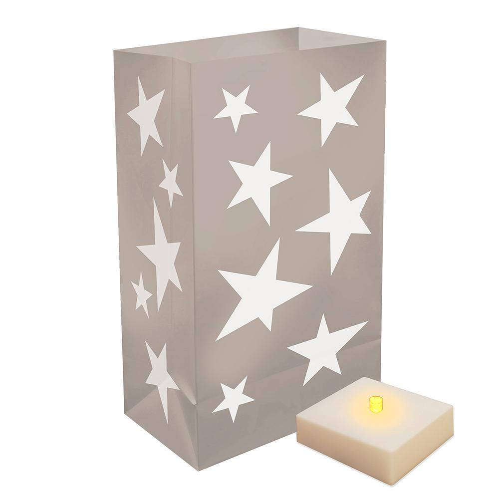 Battery Operated Luminaria Silver Stars Kit with Timer (6-Count)