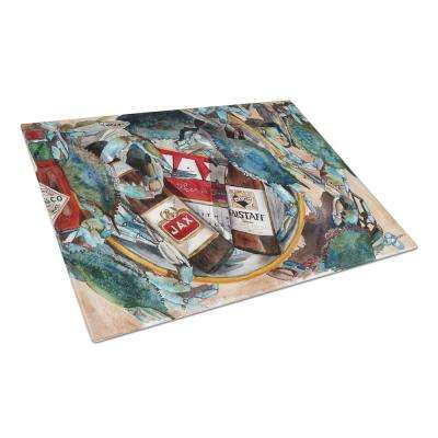 New Orleans Beers and Crabs Tempered Glass Large Heat Resistant Cutting Board
