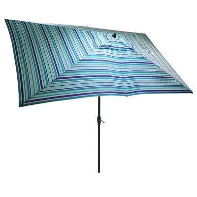 10 ft. x 6 ft. Aluminum Market Patio Umbrella in Thompson Stripe with Push-Button Tilt