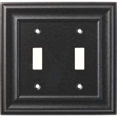 2-Gang Winslow Decorative Double Switch, Soft Iron