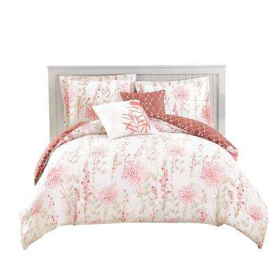 Fresh Meadow 5-Piece Reversible Coral King Comforter Set
