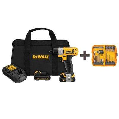 12-Volt MAX Lithium-Ion Cordless 1/4 in. Screwdriver Kit with Free Rapid Load Set (28-Piece) and (2) Batteries 1.5Ah