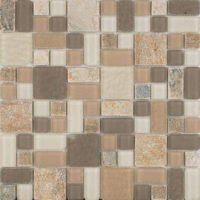 No Ka 'Oi Lahaina-La420 Stone And Glass Blend 12 in. x 12 in. Mesh Mounted Floor & Wall Tile (5 sq. ft. / case)