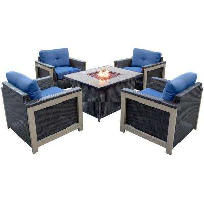 Montana 5-Piece Wicker Patio Fire Pit Conversation Set with Faux Wood Grain-Top Fire Pit with Navy Blue Cushions
