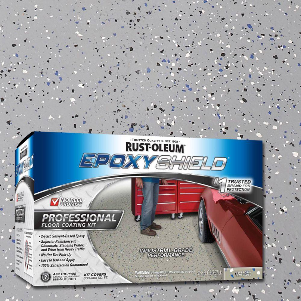 Rust-Oleum EpoxyShield 2 gal. Silver Gray Semi-Gloss Professional Floor Coating Kit (Case of 2)
